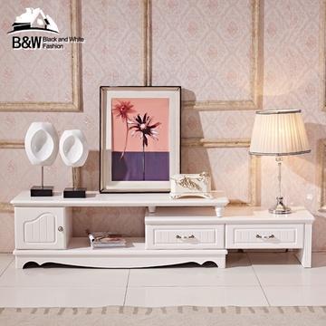 黑白欧风尚现代简约欧式电视柜可伸缩地中海风格烤漆
