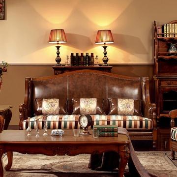 美式牛皮布艺沙发别墅客厅组合家具图片