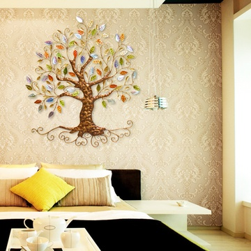 欧式创意铁艺壁饰壁挂发财树家居客厅背景墙面装饰品