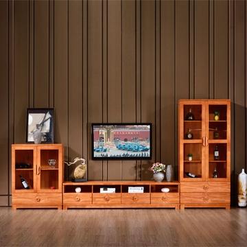 祥融 电视柜 现代中式电视柜酒柜客厅实木电视机柜组合橡木影视柜背