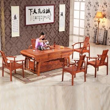 总经理 红木家具茶桌 非洲花梨木功夫茶台 实木茶几 新中式茶艺茶台