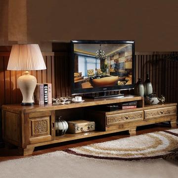 品尚美家 电视柜伸缩电视机柜香樟木家具客厅地柜储物柜
