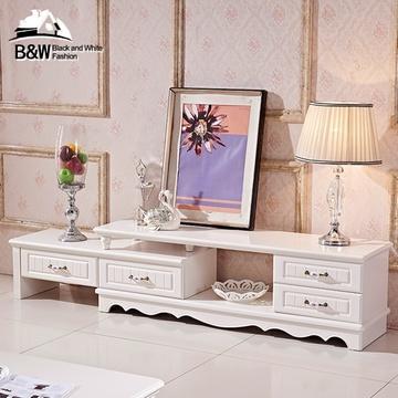 黑白欧风尚简约现代欧式电视柜2米客厅家具组合茶几套装伸缩机柜(运费