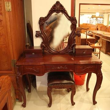 红木家具欧式梳妆台梳妆凳两件套实木化妆台红花梨木