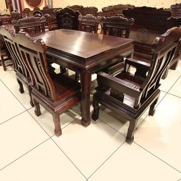 红木家具红木餐桌实木饭桌长方形桌椅组合带抚手椅六