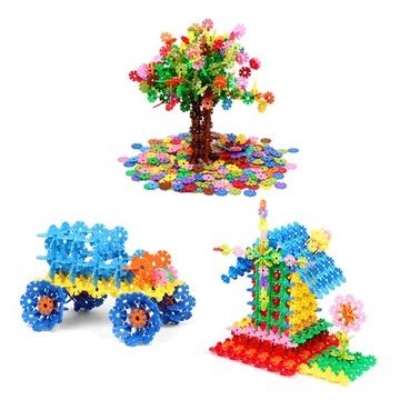 雪花片积木盒装11色加厚大号*力塑料立体拼图拼插