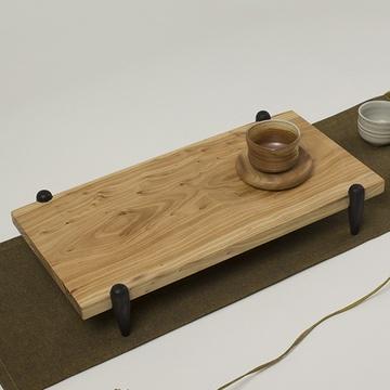 亿宸贵苏 老榆木禅思茶盘 新中式简约现代拼板独板茶具功夫茶盘送茶托