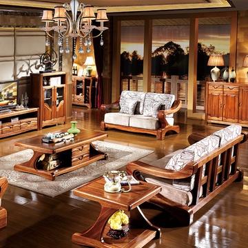 品尚美家 全实木沙发 金丝檀木家具中式客厅组合沙发801 纯金丝檀全
