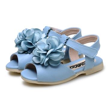 新款女宝宝凉鞋婴儿可爱花朵鱼嘴女童童鞋小公主凉鞋cs3529(浅蓝色 22