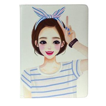 送钢化膜 可爱女孩卡通苹果ipad air/air2平板保护套ipad 2 3 4/mini1