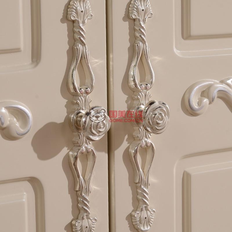 凯莎豪庭 欧式衣柜田园衣橱 四门储物衣柜 实木侧板衣柜(象牙白 4门
