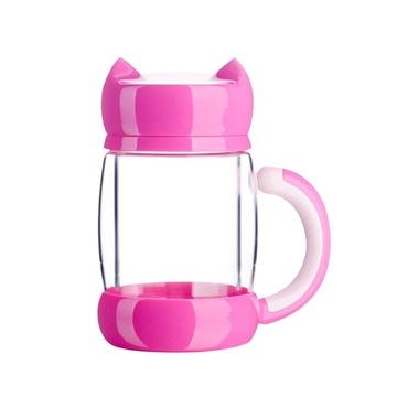 明蓝坊凯霖猫咪杯子 保温玻璃杯女士花茶杯过滤带盖便携创意可爱水杯