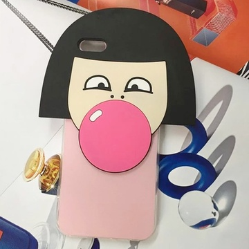 亿和源iphone6s韩国可爱卡通形象短发女孩吹泡泡苹果tpu手机壳保护套