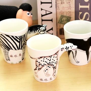 创意手绘3d动物陶瓷杯子个性卡通水杯大容量