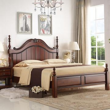 8米简约双人欧式床复古卧室婚床成套家具 罗马柱床(1800x2000 单张床)