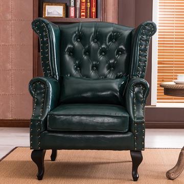 万诚欧式沙发休闲客厅复古皮质组合沙发(墨绿 单人沙发)