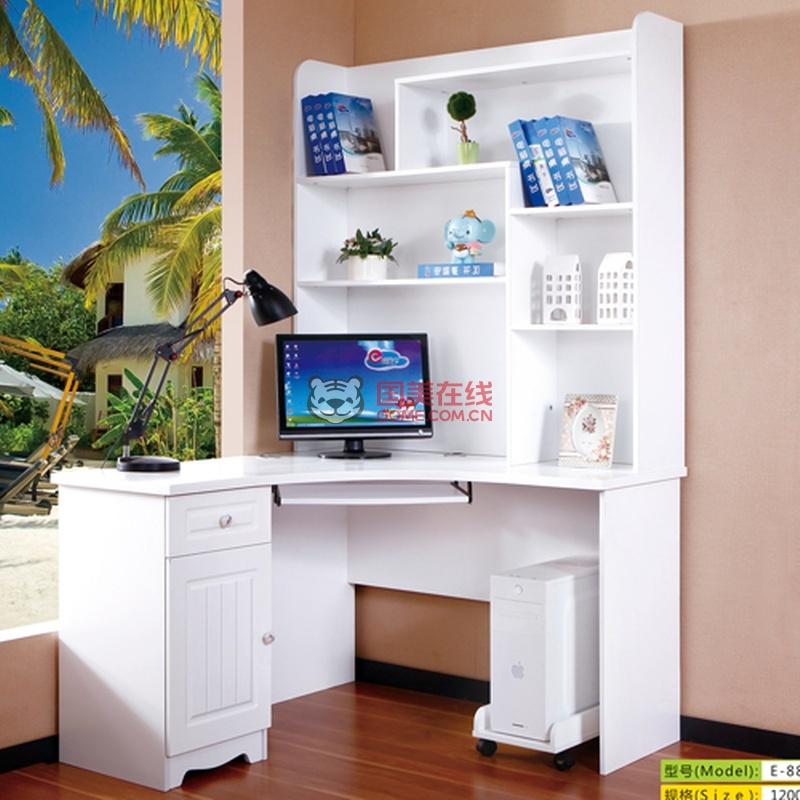 欧式电脑桌 书桌书柜组合 简易写字桌 儿童学习桌 台式家用拐角书桌