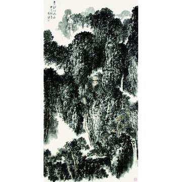 张宏侠 泉韵沁幽山> 国画 山水画 水墨写意 竖幅立轴