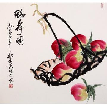 赵爱英 鹤寿图> 国画 花鸟画 水墨写意 寿桃 斗方